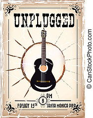 vintage announcement poster of an unplugged concert with guitar