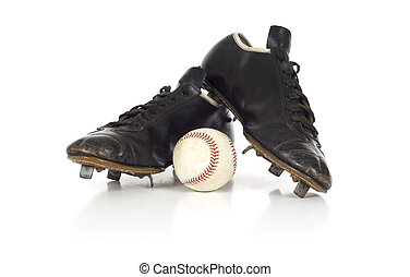 Vintage antique baseball shoes - A pair of black leather ...