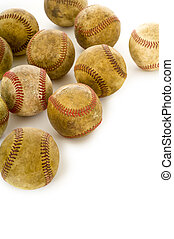 Vintage, antique baseballs - a background of vintage, ...