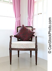 Vintage antique chair in the living room.