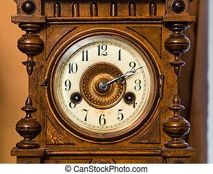 Vintage antique clock face closeup