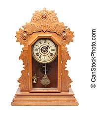 Vintage Antique Clock Isolated on a White Background.