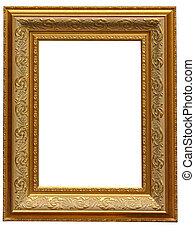 Vintage antique gold picture frame over white