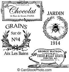 Vintage Antique Labels Set