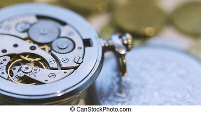 Vintage Antique Pocket Watch Against the Background of Euro...
