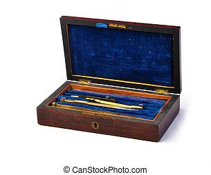 Vintage antique protractor box