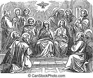Antique vintage biblical religious engraving or drawing of choosing disciple Matthias as Judas successor as apostle. Bible, New Testament, Acts 1. Biblische Geschichte , Germany 1859.