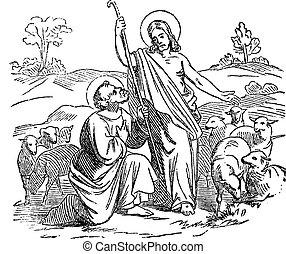 Antique vintage biblical religious engraving or drawing of resurrected Jesus Appears to disciple or apostle saint Simon Peter. Bible, New Testament, gospel of John 21. Biblische Geschichte , Germany 1859.