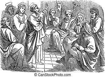 Antique vintage biblical religious engraving or drawing of saint apostle Simon Peter is speaking to Paul and Barnabas about circumcision .Bible, New Testament, Acts 15. Biblische Geschichte , Germany 1859.