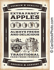Vintage apple harvest poster in woodcut style. Editable...