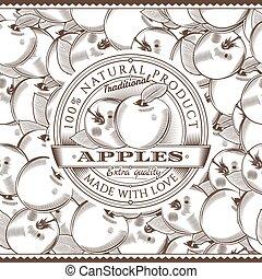Vintage Apple Label On Seamless Pattern