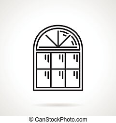 Vintage arched window vector icon - Vintage arched window...