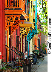 Vintage Architecture - Old row house architecture in...