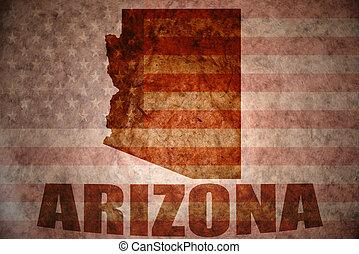 arizona map on a vintage american flag background