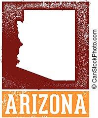Vintage Arizona Stamp Sign