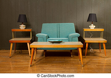 Vintage Arm Chair and Coffee Table