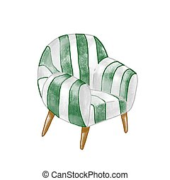 Vintage armchair flat vector illustration. Stylish retro chair isolated on white background. Upholstered furniture element with striped drapery. Comfortable seat. Home interior item.