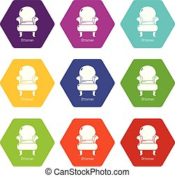 Vintage armchair icons set 9 vector
