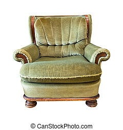 vintage armchair isolated with clipping path - vintage blue...