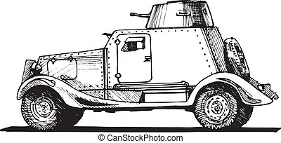 vintage armored car - Vector drawing of armored car stylized...