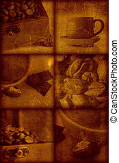 Vintage artistical stylish background, grainy texture. Coffee theme