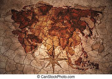 asia map on vintage crack paper background