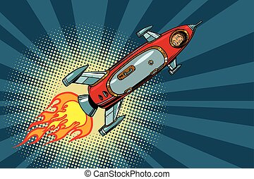 Vintage astronaut in a small spaceship in space. pop art...