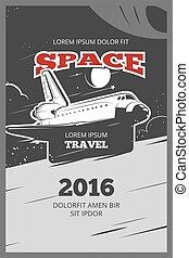 Vintage astronautics vector poster