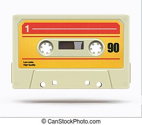 Vintage audio cassette - illustration of vintage plastic ...