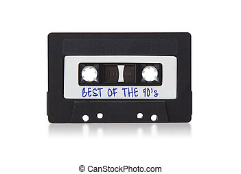 Vintage audio cassette tape, isolated on white background,...