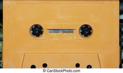 vintage audio cassette tape with a blank white label