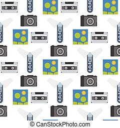 Vintage audio cassette vector retro audio multimedia entertainment old electronic gadget communication seamless pattern background illustration.