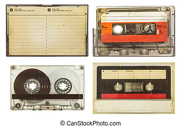 Vintage audio compact cassettes isolated on white
