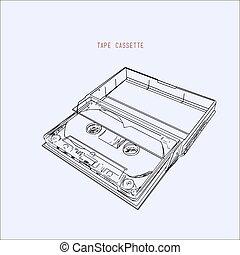 vintage audio tape cassette, illustration vector.