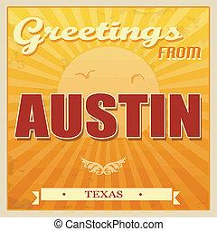 Vintage Austin, Texas poster - Vintage Touristic Greeting...