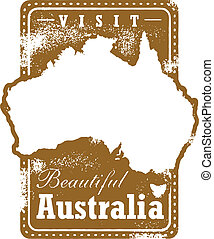 Vintage Australia Travel Stamp