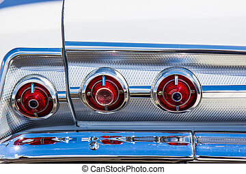 Vintage Automobile Tail Lights & Chrome Bumper