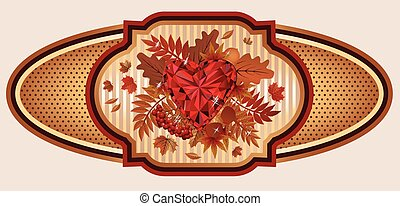Vintage autumn banner with ruby