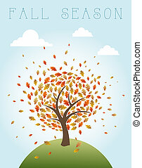 Vintage autumn composition. Tree with exploding leaves over world illustration. EPS10 vector file organized in layers for easy editing.
