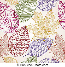 Vintage Hand drawn autumn tree leaves seamless pattern background. EPS10 vector file with transparency organized in layers for easy editing.