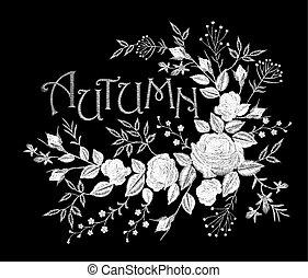 Vintage autumn lettering flower white lace rose arrangement. Embroidery floral fashion decoration patch. Fall season t skirt design black background vector illustration template