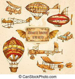 Vintage Aviation Sketch - Vintage steampunk aviation colored...