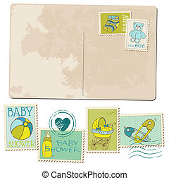 Vintage Baby Boy Arrival Postcard - for design or scrapbook - in vector