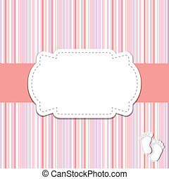 Vintage baby girl arrival announcement card. - Vintage baby...