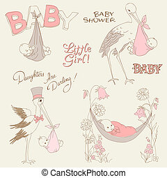 Vintage Baby Girl Shower and Arrival Doodles Set - design elements for scrapbook, invitation, cards