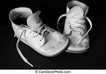 Vintage Baby Shoes - B&W image. Vintage baby shoes over ...