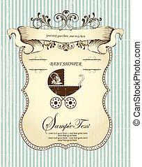 Vintage baby shower invitation card with ornate elegant...