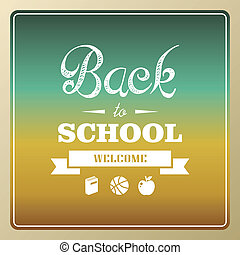 Vintage back to school and icons background illustration.