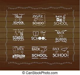Vintage back to school card. Wooden