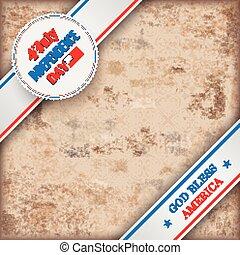 Vintage Background 4 July US Flag Ornaments